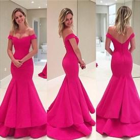 Hot Pink V Neck Off The Shoulder Mermaid Long Evening Dress
