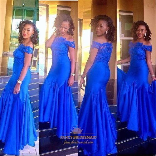 Royal Blue Off-The-Shoulder Lace Top Mermaid Evening Dress
