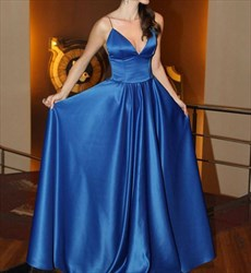 Blue V Neck Spaghetti Strap Floor Length Formal Dress