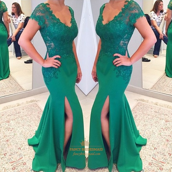 Green Applique V Neck Cap Sleeve Mermaid Gown With Side Slit