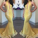 Yellow High Neck Lace Applique Mermaid Formal Dress With Keyhole Front