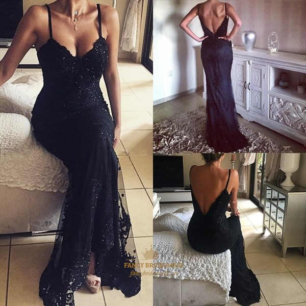 Black Beaded Applique V Neck Spaghetti Strap Long Prom Dress