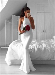 White Simple Halter Top Mermaid Open Back Floor Length Formal Gown