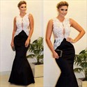 Black Two Tone Sheer Lace Applique Top Mermaid Long Formal Dress