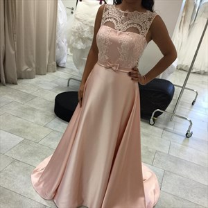 Pink Illusion Lace Embellished Neck Full Length Maid Of Bridal Dress