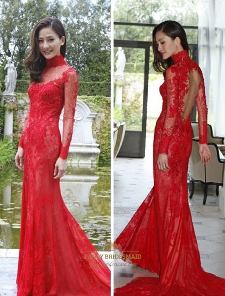 Red High Neck Sheer Long Sleeve Open Back Lace Sheath Prom Dress