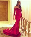 Red Off The Shoulder Long Sleeve Mermaid Prom Dress With Train