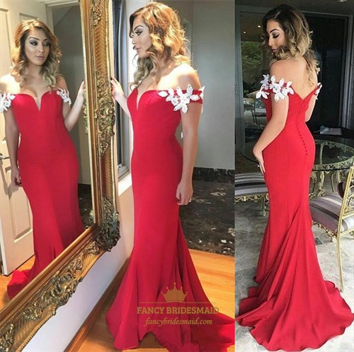 Red Off The Shoulder Lace Applique Mermaid Long Evening Dress