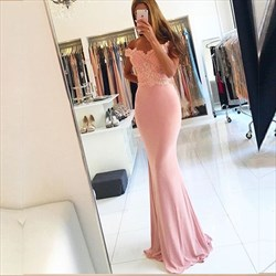 Pink Off The Shoulder Beaded Embellished Top Mermaid Long Formal Dress