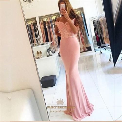 Pink Off The Shoulder Beaded Embellished Top Mermaid Long Formal Dress