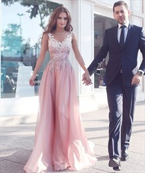Pink V-Neck Lace Applique Top Floor-Length Evening Dress