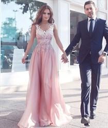 Pink V-Neck Lace Applique Top Floor-Length Evening Dress