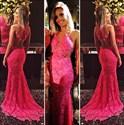 Hot Pink Illusion Lace Sheer Back Mermaid Full Length Prom Dress