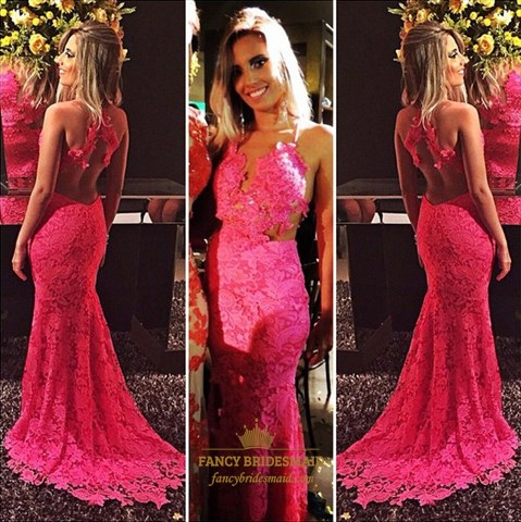 Hot Pink Illusion Lace Sheer Back Mermaid Full Length Prom Dress