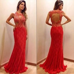 Red Beaded Sheer Top Open Back Mermaid Long Lace Prom Gown