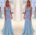 Light Blue Lace Ruched Bodice Chiffon Long Bridesmaid Dress With Strap