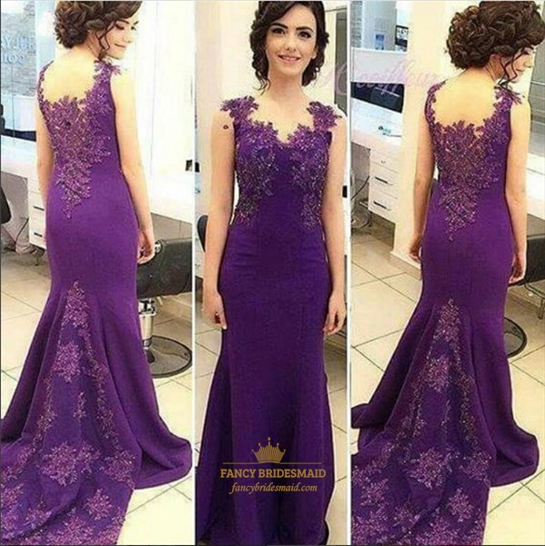Purple V Neck Lace Applique Backless Mermaid Prom Dress With Train