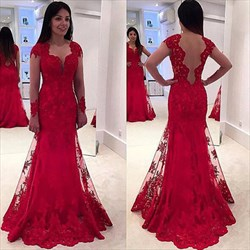 Red Sheer Long Sleeve Embellished Lace Overlay Mermaid Prom Gown