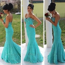 Turquoise Strapless Sweetheart Beaded Top Lace Mermaid Formal Dress