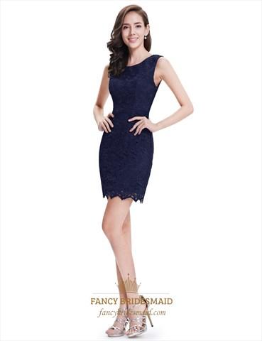 Elegant Simple Navy Blue Sleeveless Short Sheath Lace