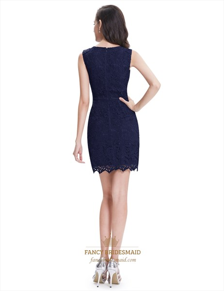 Elegant Simple Navy Blue Sleeveless Short Sheath Lace Cocktail Dress