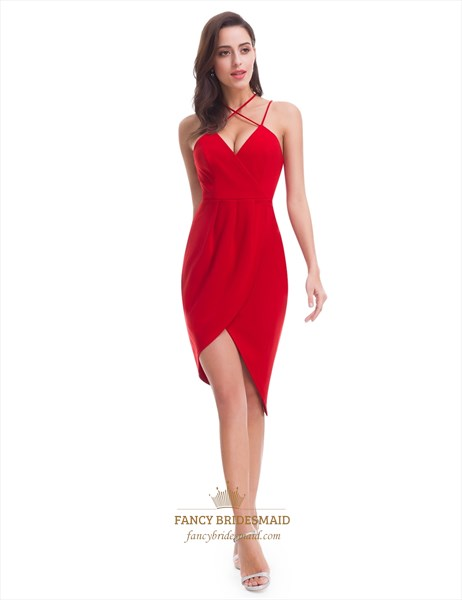 Red V-Neck Knee Length Asymmetrical Sheath Dress With Crossed Straps