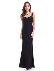 Simple Black Sleeveless Sweetheart Floor Length Mermaid Lace Prom Gown