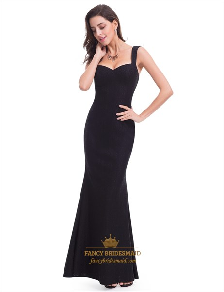 Simple Black Sleeveless Sweetheart Floor Length Mermaid Lace Prom Gown