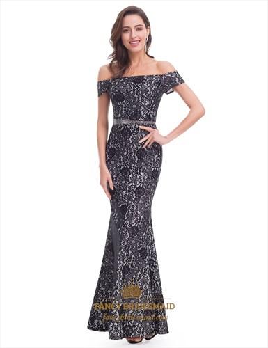 Elegant Floral Off The Shoulder Mermaid Long Dress With Beaded Waist
