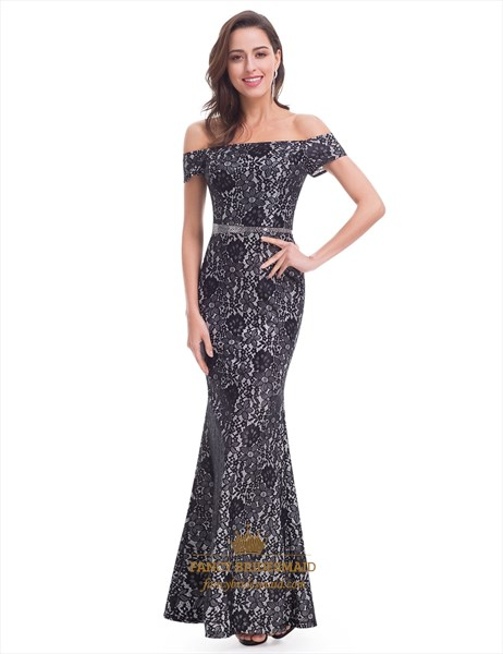 Elegant Floral Off The Shoulder Mermaid Long Dress With Beaded Waist