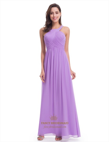 Lavender Sleeveless A-Line Ruched Bodice Chiffon Long Bridesmaid Dress