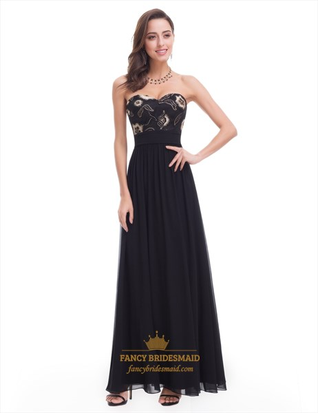 Black Strapless A-Line Long Prom Dress With Embroidery Embellished Top