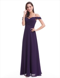 Simple Violet Ruched Top A-Line Floor Length Chiffon Dress With Straps