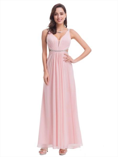 Light Pink Sleeveless V-Neck Beaded Chiffon Dress With Cut Out Waist
