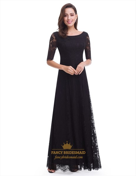 Black Half-Sleeve Lace Overlay A-Line Long Prom Dress With Open Back