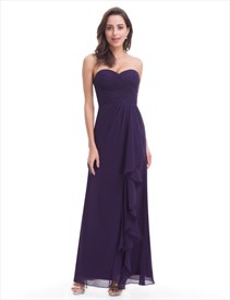 Simple Grape Strapless Sweetheart Ruched Top Chiffon Bridesmaid Dress