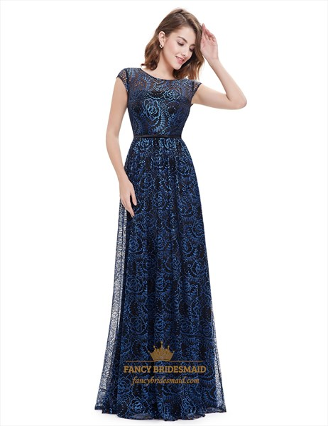 Sapphire Blue Cap Sleeve A-Line Lace Overlay Open Back Formal Dress