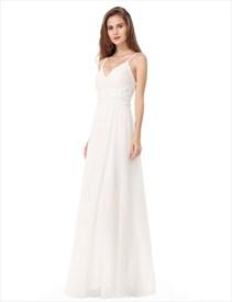 White Backless Spaghetti Strap Lace Bodice Chiffon Bottom Prom Dress