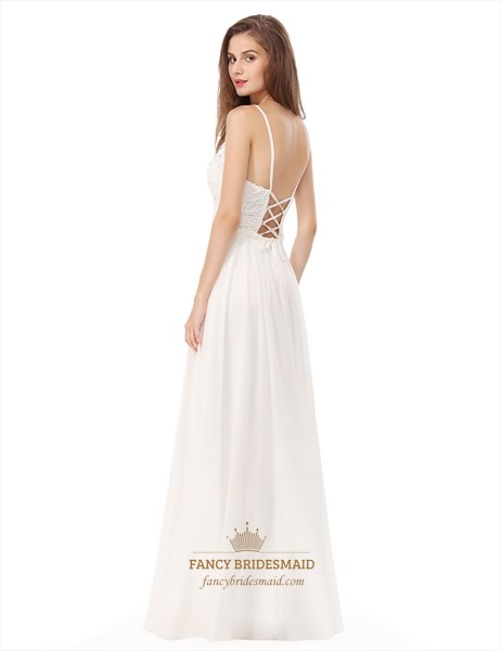 White Backless Spaghetti Strap Lace Bodice Chiffon Bottom Prom Dress