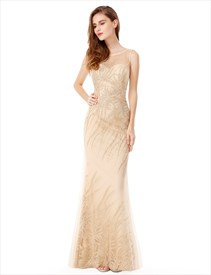 Light Champagne Sleeveless Floor Length Embellished Mermaid Prom Dress