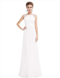 Sleeveless Floor Length A-Line Chiffon Evening Dress With Beaded Top