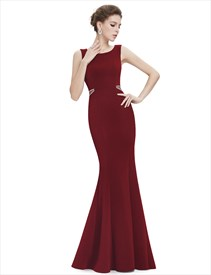 Elegant Sleeveless Sheath Mermaid Prom Dress With Embellished Waist