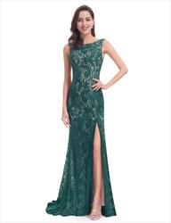Elegant Sleeveless Open Back Lace Prom Dress With Side Split