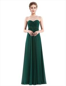 Strapless Sweetheart Lace Embellish A-Line Chiffon Prom Dress