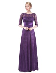 Elegant Illusion Half Sleeve Lace A-Line Floor Length Evening Dress