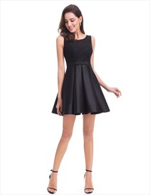 Cute Sleeveless Short A-Line Satin Little Black Dress With Lace Bodice
