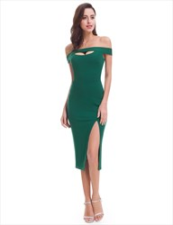 Off The Shoulder Emerald Green Tea Length Sheath Dress With Side Split