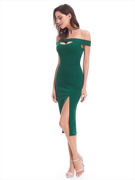 Off The Shoulder Emerald Green Tea Length Sheath Dress With Side Split