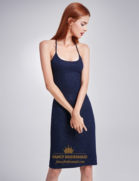 Navy Blue Spaghetti Strap Short Sheath Dress With Crossed Open Back