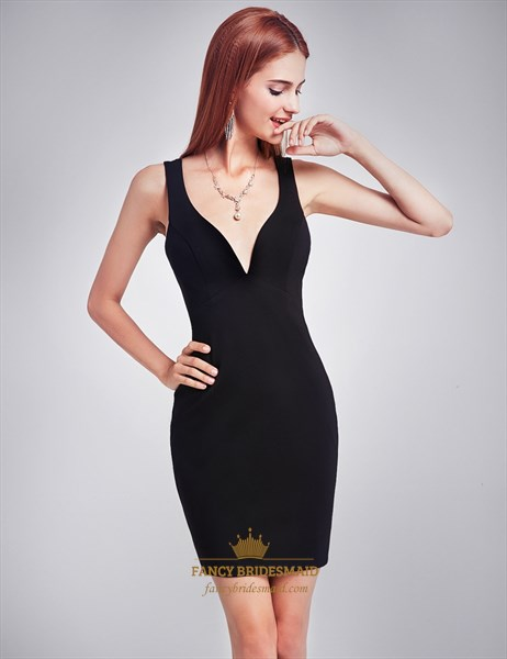 Simple Black Deep V-Neck Sleeveless Short Sheath Dress With Open Back
